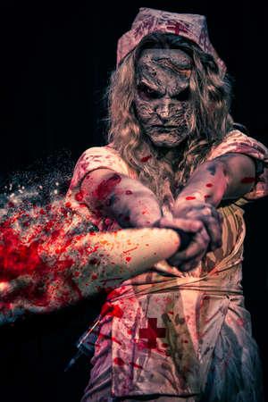 Nurse character swings bat. Styalized with artistic blood splatter