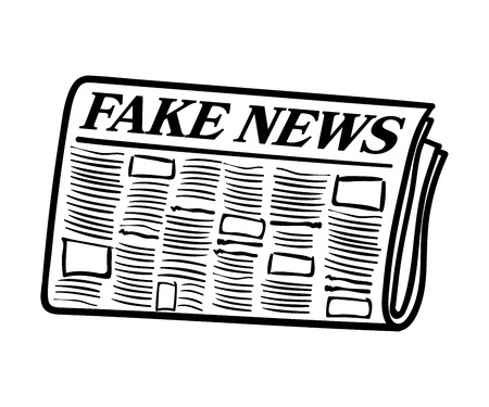 hoax: Fake News newspaper. Transparent line art isolated on white background
