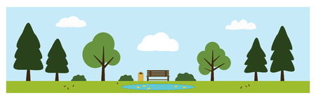 Park scene vector including a bench, trees, bushes, pond with ducks, birds and a trash can. Park items isolated on background.