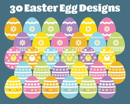 Easter Egg vector, set of thirty decorative designs isolated on background