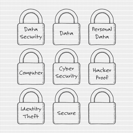Padlocks with a data security theme. Transparent line art isolated on grid background. Иллюстрация