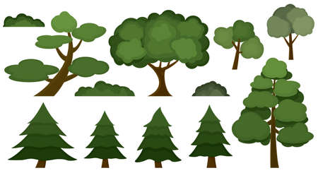 Set of nine trees and three bushes isolated on white background. Иллюстрация