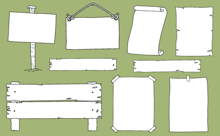 Hand drawn set of signs and notices. Includes wooden signs, posters, a parchment and scroll. All elements are white filled and isolated on background.