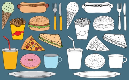 Vector set of hand drawn doodles of various snack foods and drinks. One half has colour fill and the other half has simple white fill. All elements are isolated on background.
