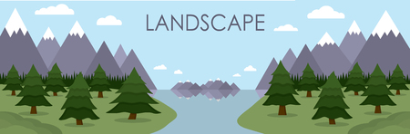 Flat vector illustration of mountain landscape reflected in lake surrounded by pine tree forest. All elements isolated on background.