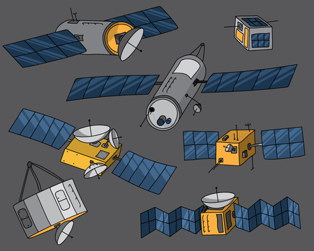 Set of various hand drawn satellite illustrations including generic communication satellites and cubesats. All satellites isolated on background.
