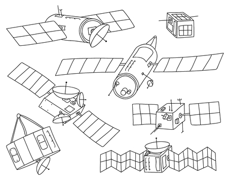 Set of various hand drawn satellite outlines including generic communications satellites and cubesats. Line art with no fill, isolated on background.