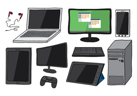 Set of ten electronic devices including desktop computer, laptop, smart phone, tablets, keyboard, games controller and ear phones. Isolated on background.