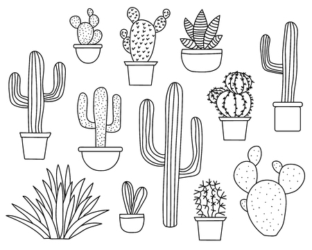 Set of hand drawn cactus plants in a cartoon style including agave, aloe vera and cacti in pots. Line art with no fill. Иллюстрация
