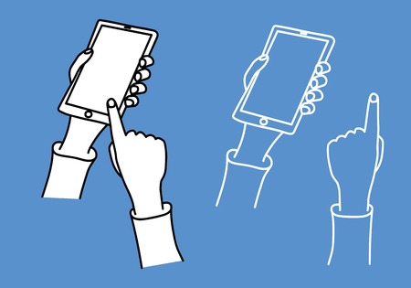 Hand holding phone in a hand drawn sketch cartoon style