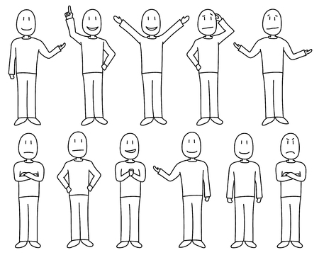 Figures in poses depicting various moods and emotions in a hand drawn cartoon style. Figures are individually isolated and white filled. Male character set. Иллюстрация