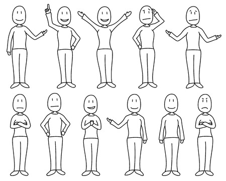 Figures in poses depicting various moods and emotions in a hand drawn cartoon style. Figures are individually isolated and white filled. Female character set.