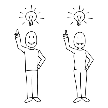 People showing bright idea concept and light bulb above heads in hand drawn style. All elements isolated and white filled. Illustration