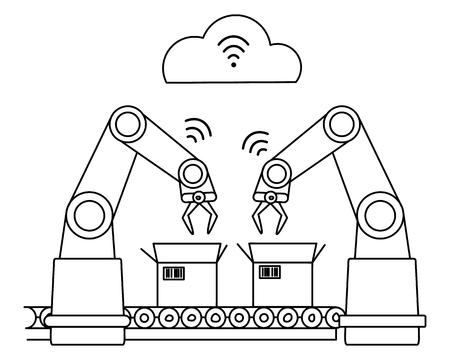 Industry with wireless network robotic assembly line.