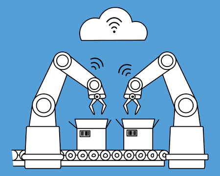 Industry with wireless network robotic assembly line. White filled line art
