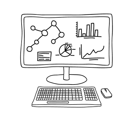 Computer screen with keyboard and mouse displaying statistics and analytics data in hand drawn sketch style. Unfilled line art. Иллюстрация
