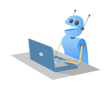 Chatbot robot typing on a laptop computer sitting at a desk. Vector illustration.