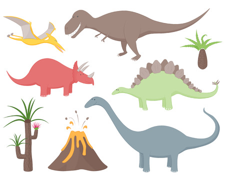 Set of dinosaurs including Tyrannosaurus Rex, Stegosaurus, Triceratops, Diplodocus, Pteradactyl, prehistoric plants and volcano. Isolated from background
