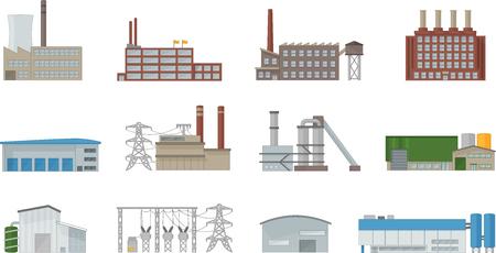 Budynek fabryki wektor zestaw w stylu płaski. Elektrownie, budynki produkcyjne, przemysłowe i magazynowe. Odizolowane od tła.