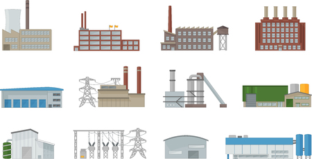 Factory building icon vector set in flat style. Power plant, manufacturing, industrial and warehouse buildings. Isolated from background. Фото со стока - 98030854