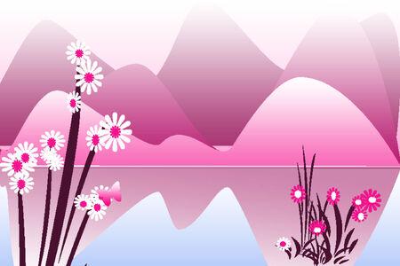 Pink mountains Illustration