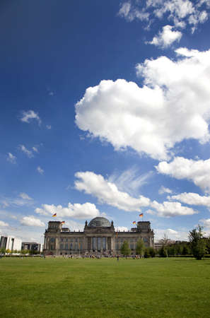 A view of the clouds over the Reichstag in Berlin. Stock Photo - 7757883