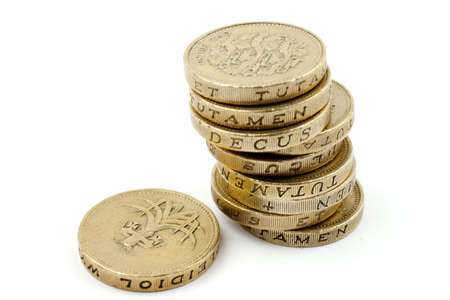 pound sterling: Ten £1 coins. Stock Photo