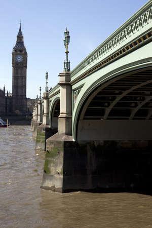 Big Ben and Westminster Bridge in London. Stock Photo - 9393208