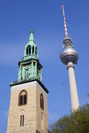 St. Marienkirche and the TV Tower in Berlin