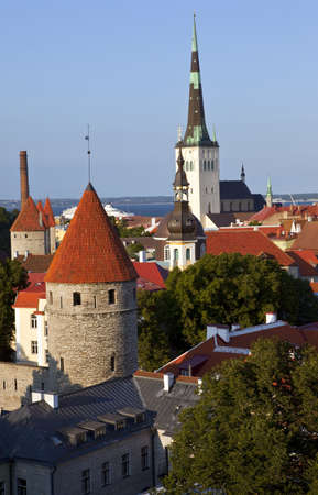 View from an observation platform on Toompea Hill in Tallinn. photo