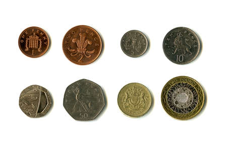 pence: The British coins.  Consisting of 1p, 2p, 5, 10p, 20p, 50p, �1 and �2.