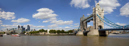 A panoramic view overlooking sights including Tower Bridge, the Tower of London and the Gherkin.