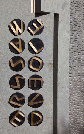 cypher: Detail of the Code-breakers Memorial at Bletchley Park Stock Photo
