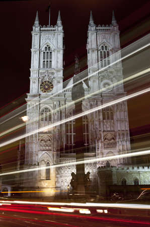 Light trails passing Westminster Abbey photo