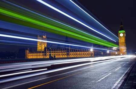 Traffic trails passing the Houses of Parliament