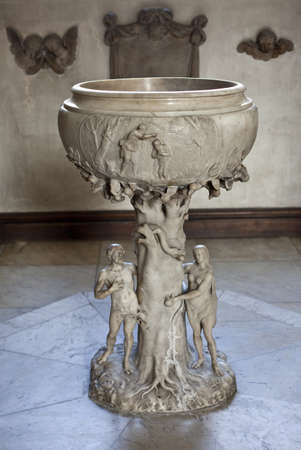 st james s: The white marble font in the Church of St  James