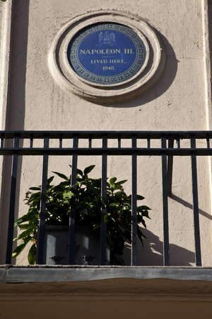 blue plaque: Blue plaque in King Street, London noting that Napoleon III once lived there
