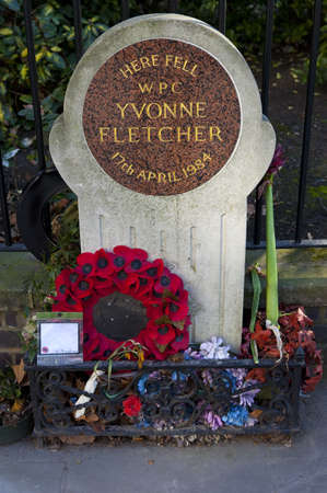 st james s: Memorial to PC Yvonne Fletcher in St  James