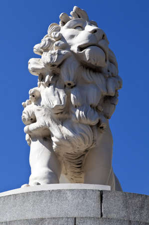 A statue of a Lion made from Coade Stone located on one end of Westminster Bridge in London. Stock Photo - 14315477