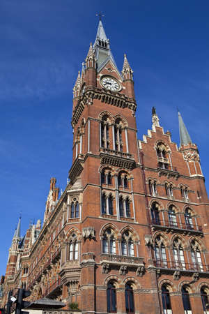 pancras: The victorian architecture of the Grand Midland Hotel   Kings Cross Station in London  Editorial