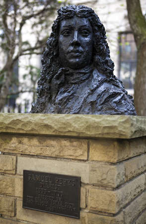 lived here: A bust of Samuel Pepys identifying the former site of the Navy Office (In Seething Lane Gardens, London) which was destroyed by fire in 1673.  Samuel Pepys lived and worked here.