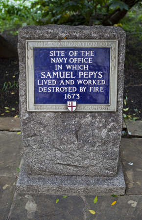 lived here: A blue plaque identifying the former site of the Navy Office (In Seething Lane Gardens, London) which was destroyed by fire in 1673.  Samuel Pepys lived and worked here. Editorial