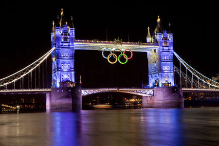 olympic ring: Tower Bridge and Olympic Rings