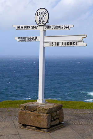 The famous Lands End Signpost in Cornwall Stock Photo