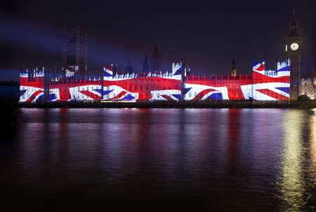Union Flag Projection on the Houses of Parliament