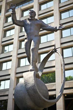 yuri: Statue to famous Russian cosmonaut Yuri Gagarin.  It is located in The Mall in London. Stock Photo