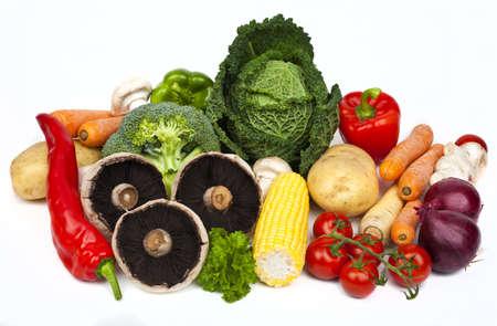 Verduras sobre un fondo blanco. Foto de archivo