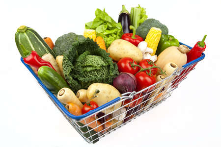 brocolli: A shopping basket full of Vegetables on a white background.