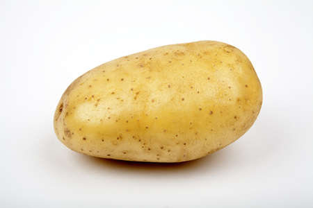 A solitary Potato on a white background. photo