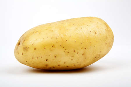 Close-up of a Potato on a white background. photo